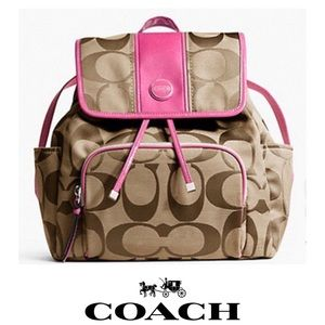 Coach Signature Canvas & Pink Patent Trim Backpack